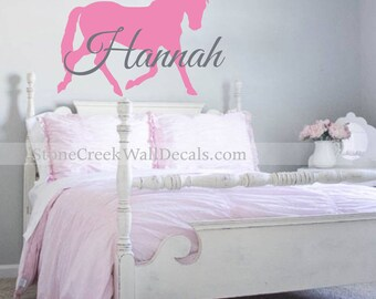 Personalized Horse Decal Wall Decal Horse Vinyl Wall Decal Name and Horse Girls Bedroom Decal Horse Nursery Girls Wall Decal Horse N037
