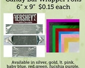 "Candy Wrapper Foils, 6""x 9"", Minimum order 10 pieces, white backing, wraps a 1.55 oz chocolate bar personalized candy wrapper"
