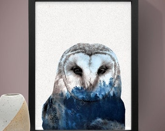 Owl Double Exposure Poster, Wall Art, Home Decor