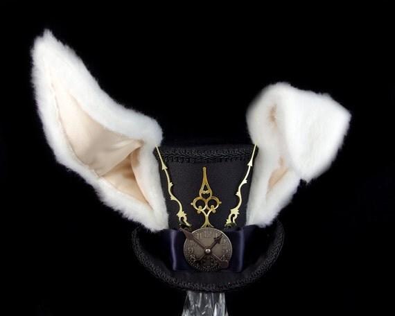 The White Rabbit –Black on Black Clockwork Bunny Eared Large Mini Top Hat, Alice in Wonderland Mad Hatter Tea Party, Derby Hat