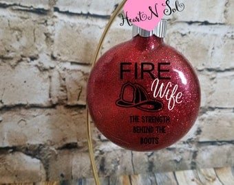 Fire Wife, Glitter Ornament, Fire Helmet, Fireman, Firetruck ornament, Fireman ornament, Fire Wife Ornament