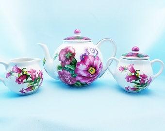 Tea set, large 8 cup tea pot with cream and sugar, Floral and plaid, Porta Heritage by Barbara Wilson, Raul de Bernarda Portugal