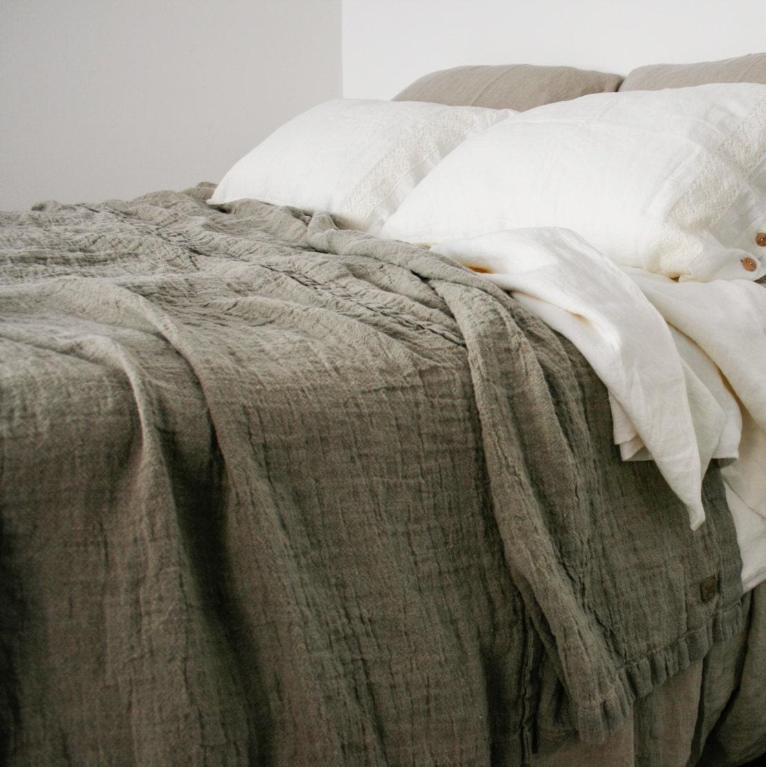 Linen Bedspread Rough Linen Rustic Style Bed Cover Queen
