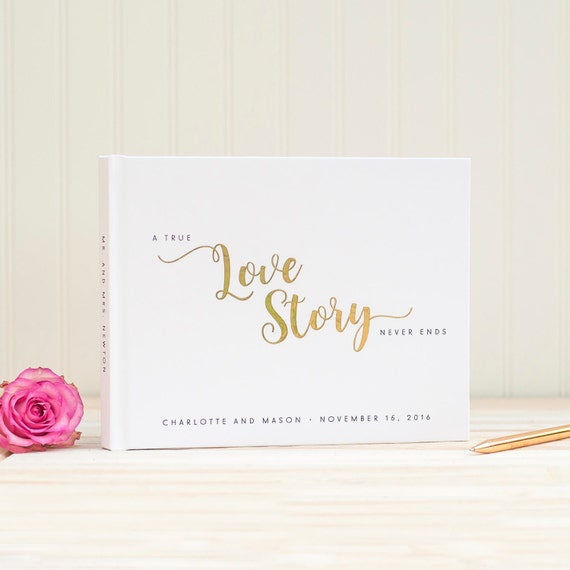 Wedding Guest Book landscape horizontal wedding album with Real Gold Foil personalized hardcover guestbook Love Story instant photo booth