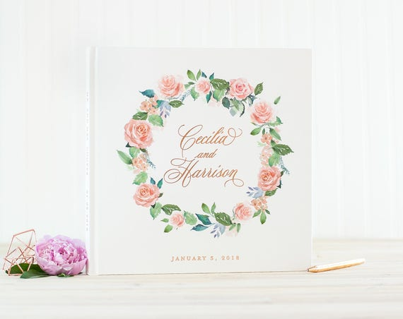 Wedding Guest Book Rose Gold Foil wedding guestbook personalized wedding photo album blush floral wreath guest sign in book photo guest book