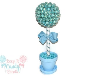Blue Lollipop Baby Shower Topiary, Its a Boy Centerpiece,  Baby Shower Centerpiece, Blue Baby Shower, Candy Centerpiece for Baby Boy