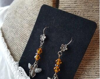 Sale! Bumblebee and Swarovski Crystal Earrings/Bee Charm Dangle Earrings/Gardener's Gift/Bee Keeper/Save the Bees/ Honey Bee earrings