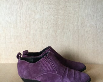 Vintage Palomino Purple Suede Western Style Ankle Boots Booties Womens Size 6 6.5
