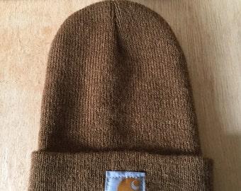 Children's One Size Carhartt Knit Beanie Ochre Brown Unisex Kids Cild Fashion