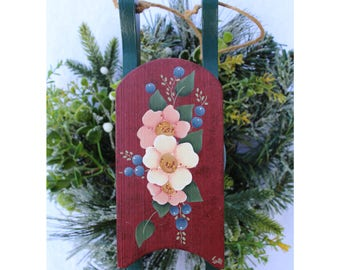 Hand Painted Sled Ornament - Painted Flowers - Decorative Painting - Painted Sled Ornament - Christmas Ornament - Floral Wooden Sled -