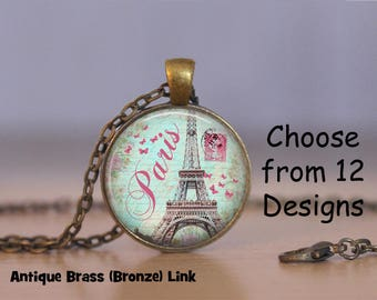 Cities Blue Pendant Necklace, Art Print Jewelry, Charm Jewelry, or Keyring, New York Necklace, Paris Necklace, Moscow Necklace
