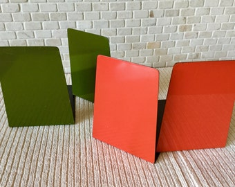 Vintage 1970s Metal Tangerine Orange and Avocado Green Bookends Two Sets - Japan