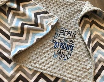 Light blue and Grey Chevron Double Minky Baby Blanket, SALE!