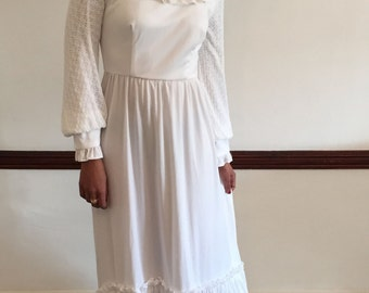 1970s white casual wedding dress with lace bishop sleeves and yoke