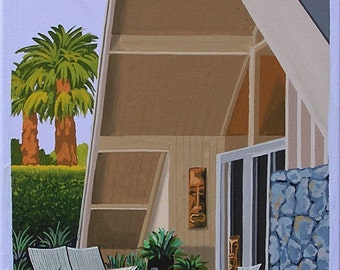 Mid Century Modern Eames Retro Limited Edition Print from Original Painting A-Frame Cottage Tiki