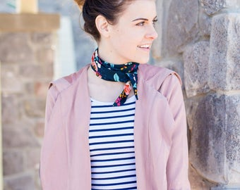 Floral Skinny Scarf, Navy Thin Scarf, Womens Neck Tie, Rifle Paper Co Scarf, Lightweight Scarf, Floral Hair Wrap, Long Skinny Scarf for Her