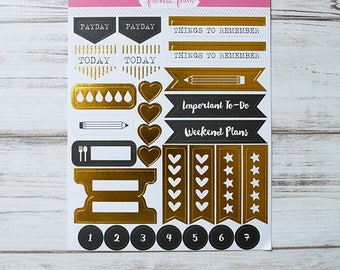 Freckled Fawn - Gold Foil Planner Stickers