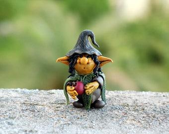 Elf figurine, woodland creature, forest guardian spirit, pixie miniature, fantasy gnome, fairy garden sprite sculpture, wee OOAK clay troll