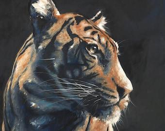 TIGER ART - bengal tiger painting, tiger collector, original oil painting, tiger decor, wildlife painting, wildlife art, animal painting