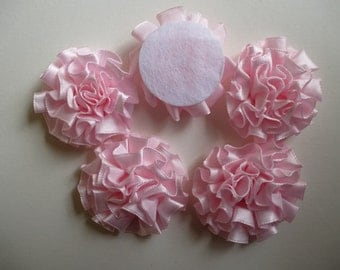 Satin flowers.   Pink satin flowers. Fabric flowers.  Satin ribbon flowers. Sewing.  Hair decoration.  Set of 5
