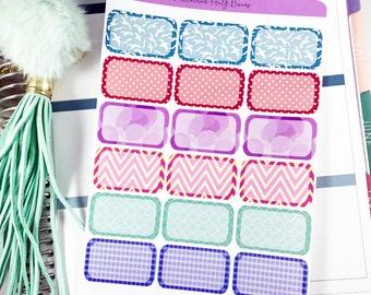 Patterned Half Box Planner Stickers | Half Box Stickers / Planner Mixed Half Box Stickers for Erin Condren