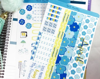 April MONTHLY Kit Planner Stickers   Monthly Spread for Erin Condren  / Stickers for ECLP / Themed Monthly Planner Stickers