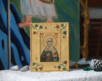 Saint Brigit of Ireland- St.Brigid of Kildare-religious icon of the irish Mary of Gael hand painted by angelicon