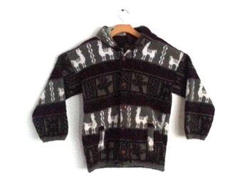 Vintage Wool Hoodie Jacket Alpaca South American Inca Size Small
