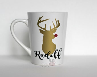 Gold Reindeer 14 oz White Mug