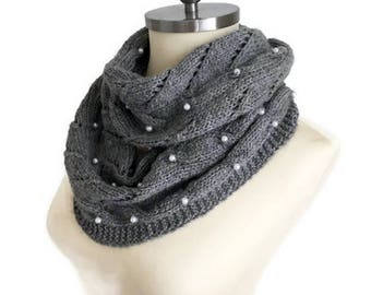 WINTER SALE Pearl Scarf, Gray Knitting Scarf, Scarf Pearl, Winter Scarf Handknit Scarf Infinity Scarf, Knitted Scarf, Women Scarf