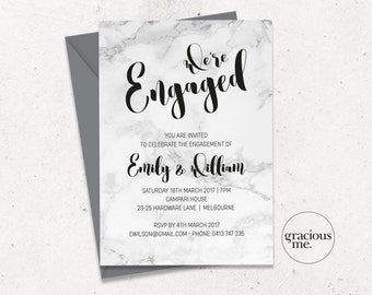 Engagement Invitation, Printable, Custom - Marble Calligraphy