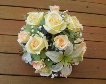 Silk Floral Artificial Flower Arrangement Centrepiece Lemon Yellow Rose