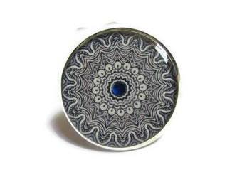 Mandala ring - Blue ring - adjustable ring - colorful ornament ring - mandala jewelry - indian jewellery - statement ring - gift for her
