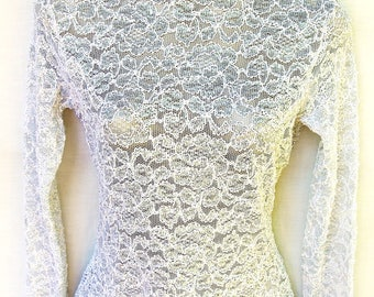 Vtg Sheer White Silver Lace Metallic Top Womens S Glitter Sparkle Turtleneck Knit Lew Magram Vintage 90s Clothing