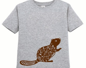 Kids Clothing Kids Shirt Toddler Whimsical Beaver Tshirt, Forest Animal T Shirt Woodland Critter Tee Youth Childrens Clothes Ringspun Cotton