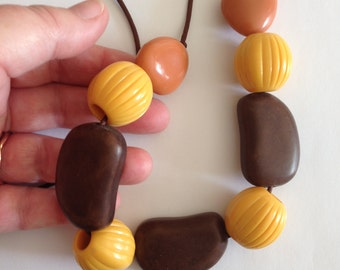 Necklace - funky yellow peach and amber brown plastic beaded necklace