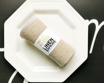 "SIX 12""x12"" LINEN napkins. 100% natural linen."