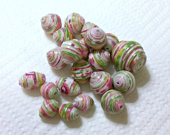 Loose Paper Beads Pink and Green Mixed Set