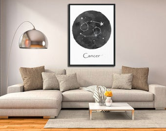 Cancer Constellation, Wall Art Prints, Watercolor Prints, Art Print Poster, Cancer Art, Cancer Zodiac, Zodiac Print, Zodiac Sign, Gift Idea