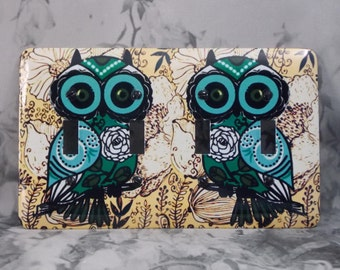 Metal Owl Switch Plate Cover - 4T 4 Toggle Switch Cover - Hoot Owl - 4T Owl