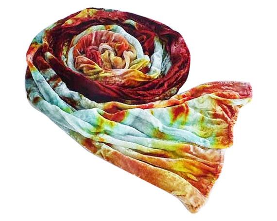 Burgundy velvet scarf, luxe fashion, crushed velvet, silk blend, winter scarf, burgundy, rust, green, blue, yellow, hand dyed, 13x59 OOAK