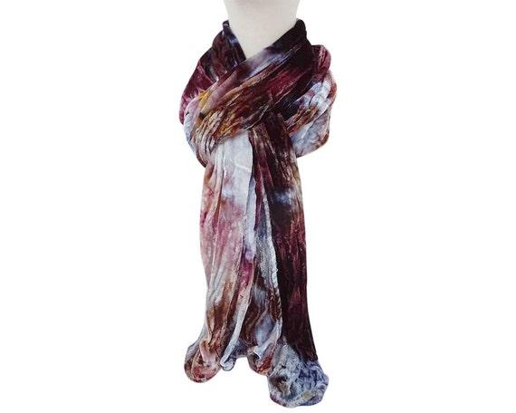 """Brown velvet scarf - velvet scarf - crushed velvet - crinkle velvet - winter scarf - brown, blue, plum, lavender - 13"""" x 59"""""""