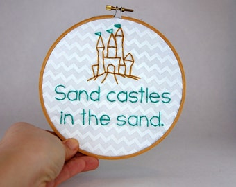 How I Met Your Mother Hoop Art - 6 Inches - Sandcastles in the Sand - HIMYM - Robin Sparkles