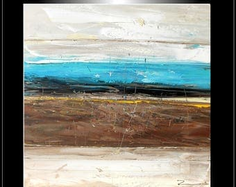 "Zenic: Painting ""Blue horizon"" XXL 39,37"" x 39,37"" x 1,57"""
