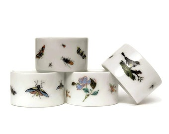 Limoges Porcelain Napkin Rings with Insects by Raynaud & Co.