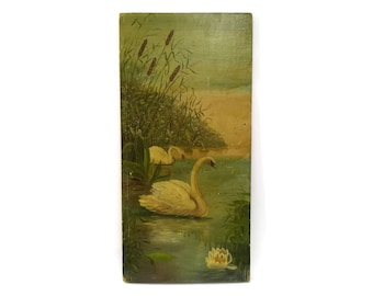 French Antique Swan Painting on Wooden Board.