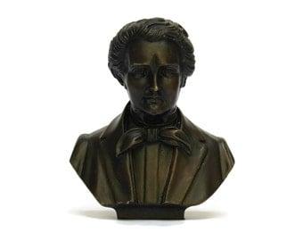 Vintage Bronze Franz Schubert Composers Head Bust. Schubert Head Figurine.