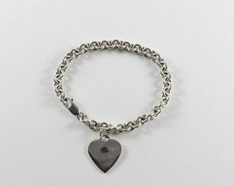 Sterling Silver Heart Charm Tag Lobster Clasp Bracelet
