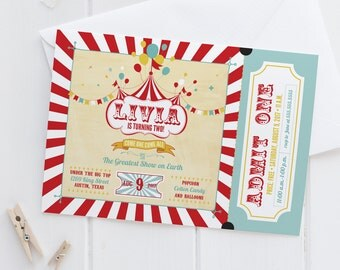 Vintage Carnival Birthday Party Invitations - Circus Ticket Invites - Red, Yellow, & Blue - Instant Download