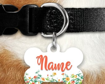 Wildflowers Watercolor Floral Identification Tag - Spring - Flowers - Multi-Colored Flowers - Pet ID - Custom Pet Tag - Personalized Pet ID